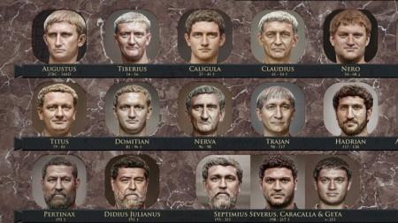 Víte, jak vypadal ve skutečnosti César? Umělá inteligence představila 54 portrétů nejznámějších římských císařů.